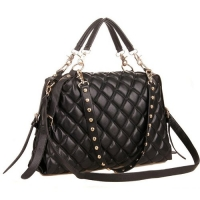 MIZU Black Trendy Diamond Quilted Versatile Studded Straps Office Tote Hobo Top Double Handle Satchel Handbag Purse Shoulder Bag