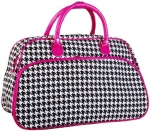 Black Houndstooth Pink Trim Bowling Bag Style Duffle Bag - 20