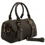 MG Collection LIZETTE Black Bowling Style Studded Barrel Shoulder Bag / Handbag