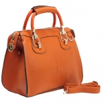 MG Collection MARISSA Orange Top Double Handle Doctor Style Handbag