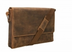 Visconti 18516 Oil Brown Distressed Leather Messenger Bag - 3/4 Flapover (Oil Tan)