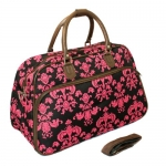 All-Season Damask 21-inch Carry-On Shoulder Tote Duffel Bag - Brown & Pink