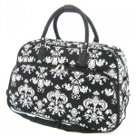 All-Season Damask 21-inch Carry-On Shoulder Tote Duffel Bag - Black & White