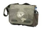 Rothco Vintage OD Messenger Bag W/Exploded USMC Globe & Anchor Print
