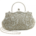 Classic Silver Baguette Style Embroidered Hand Seed Beaded Evening Clutch Purse Fashion Handbag w/ Detachable Chain