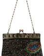 Black Antique Beaded Sequin Turquoise Sunburst Clutch Evening Handbag Purse w/ 2 Detachable Chains