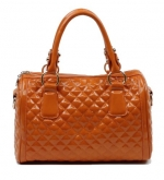 Scarleton Quilted Patent Faux Leather Satchel H106409 - Orange