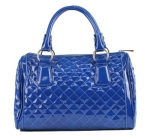 Scarleton Quilted Patent Faux Leather Satchel H106419 - Navy