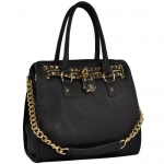 HALEY Black Classic Gold Studded Structured Satchel Purse Style Tote Handbag