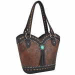 MG Collection SARAH Brown Studded Country Western Embossed Bucket Tote Handbag