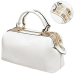 MG Collection ELPIDA White Faux Crocodile Rhinestone Accent Doctor Style Handbag