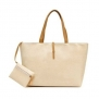 Classic Fashion Leather Tote Bags with Coin Wallet (Beige)