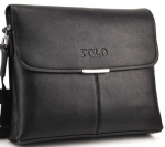 JiYe Men's Leather Casual Soft Surface Messenger Bags Big Black