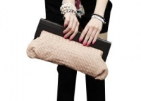 Ladies Faux Leather Weave Braid Evenging Party Wedding Quilted Clutch Purse Handbag-Beige
