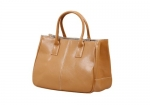 Bundle Monster Womens PU Faux Leather Lady Tote Purse Bag - CAMEL BROWN
