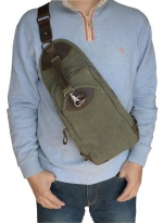 Otium 21105AMG Men's Canvas Genuine Leather Cross Body Chest Pack (Army Green)