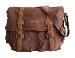 Clelo Men's Trendy Colonial Italian Style Messenger Bag with Leather Straps (Dark Coffee)