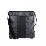 Coach Mens Signature Heritage Zip Top Crossbody Messenger Bag 71131 Charcoal Black