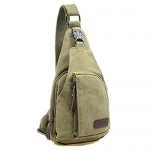 Cool Men's Outdoor Sports Casual Canvas Unbalance Backpack Shoulder Bag Crossbody Sling Chest Bag - Size L (Army Green)