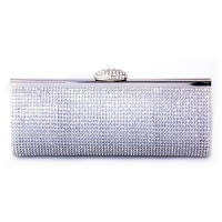 Ecosusi Sophisticated Crystals Rhinestones Clasp Flap Clutch Evening Bag Baguette Handbag (Silver)