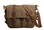 Berchirly Vintage Military Men Canvas Messenger Bag for 13.3 Inch Laptop