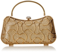 MG Collection Marya Metallic Woven Minaudiere Evening Bag, Gold, One Size