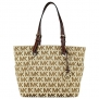 Michael Kors Signature / Monogram Jet Set Tote; Side Pockets - Beige / Ebony / Mocha