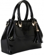 Heshe Ladies Genuine Leather Fashion Designer Tote Cross Body Shoulder Bag Handbag (Black)