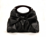 Large Bowknot Ruffle Double Handle Leatherette Satchel Hobo Handbag w/Shoulder Strap - Black