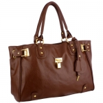 MG Collection LUCCA Designer Inspired Mahogany Glamour Padlock Shopper Hobo Handbag
