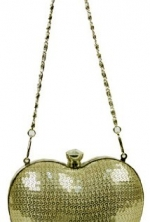 Whistle Golden Shiny Sequin Heart Shaped Clutch Evening Bag Handbag w/Chain Strap