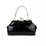 Dawdyfu Womens Retro Wristlet Handbags Stylish Popular Mini Patent Leather,black