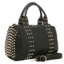 MG Collection CARA Black Gothic Gold Studded Bowling Style Barrel Handbag