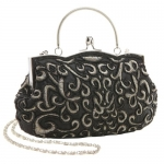 Classic Black Baguette Style Embroidered Hand Seed Beaded Evening Clutch Purse Fashion Handbag w/ Detachable Chain
