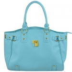 FASH Gold Padlock Shopper Zipper Hobo Shoulder Handbag,Light Blue,One Size