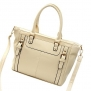 SHENGXILU Women's PU Leather Handbag Beige